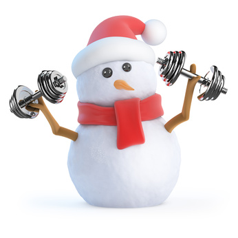 Santa snowman lifting dumbells